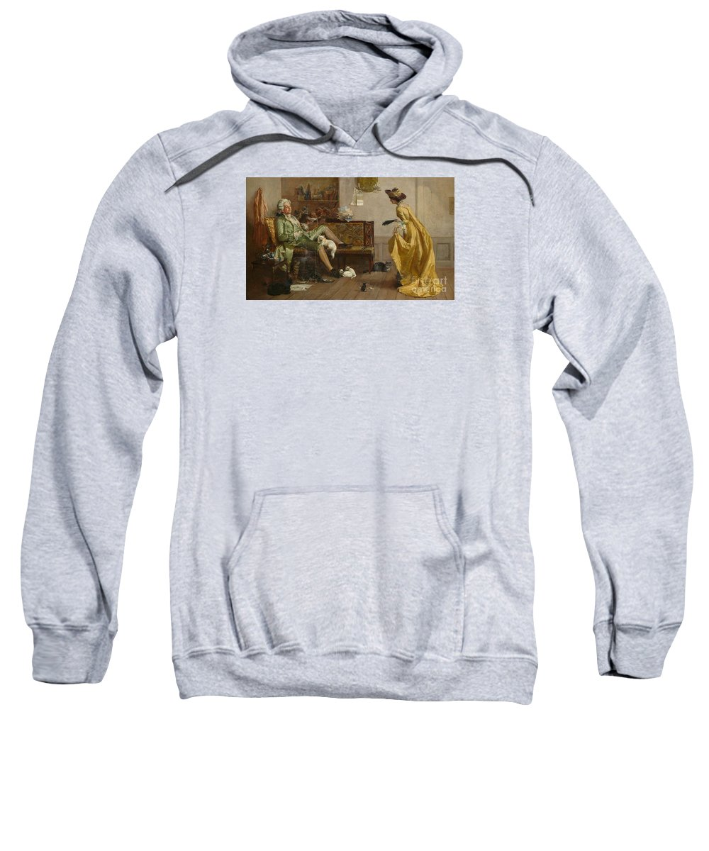 The Cat Lover Visited By Peg Woffington Sweatshirt featuring the painting The Cat Lover Visited by MotionAge Designs