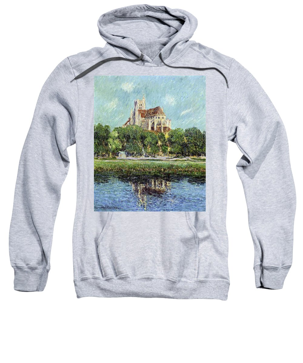 The Cathedral At Auxerre Sweatshirt featuring the painting The Cathedral At Auxerre by Gustave Loiseau