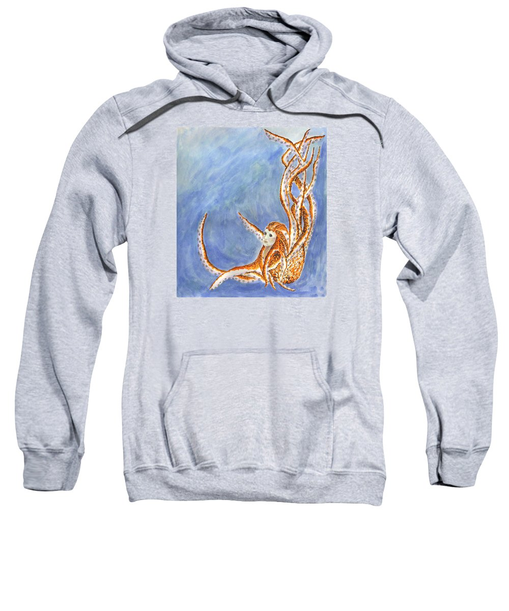 Cephalopod Sweatshirt featuring the painting The Cephalopod Maid by Kat Micari