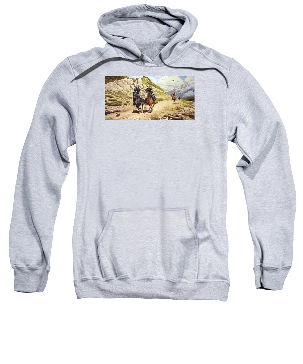 Western Sweatshirt featuring the painting The Chase by Marc Stewart