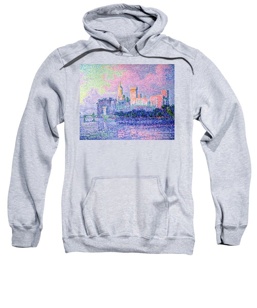 The Chateau Des Papes Sweatshirt featuring the painting The Chateau Des Papes by Paul Signac