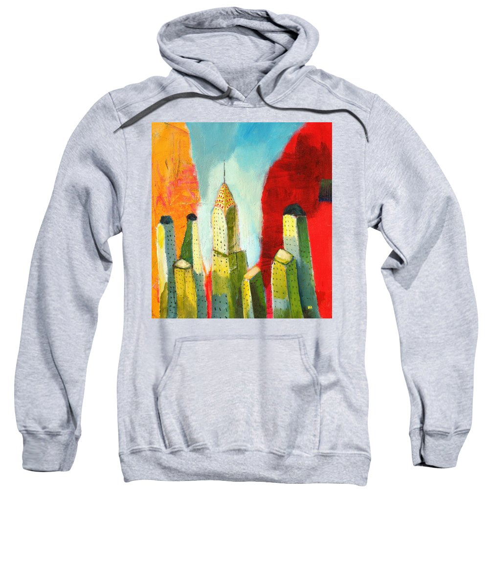 Abstract Cityscape Sweatshirt featuring the painting The Chrysler In Colors by Habib Ayat