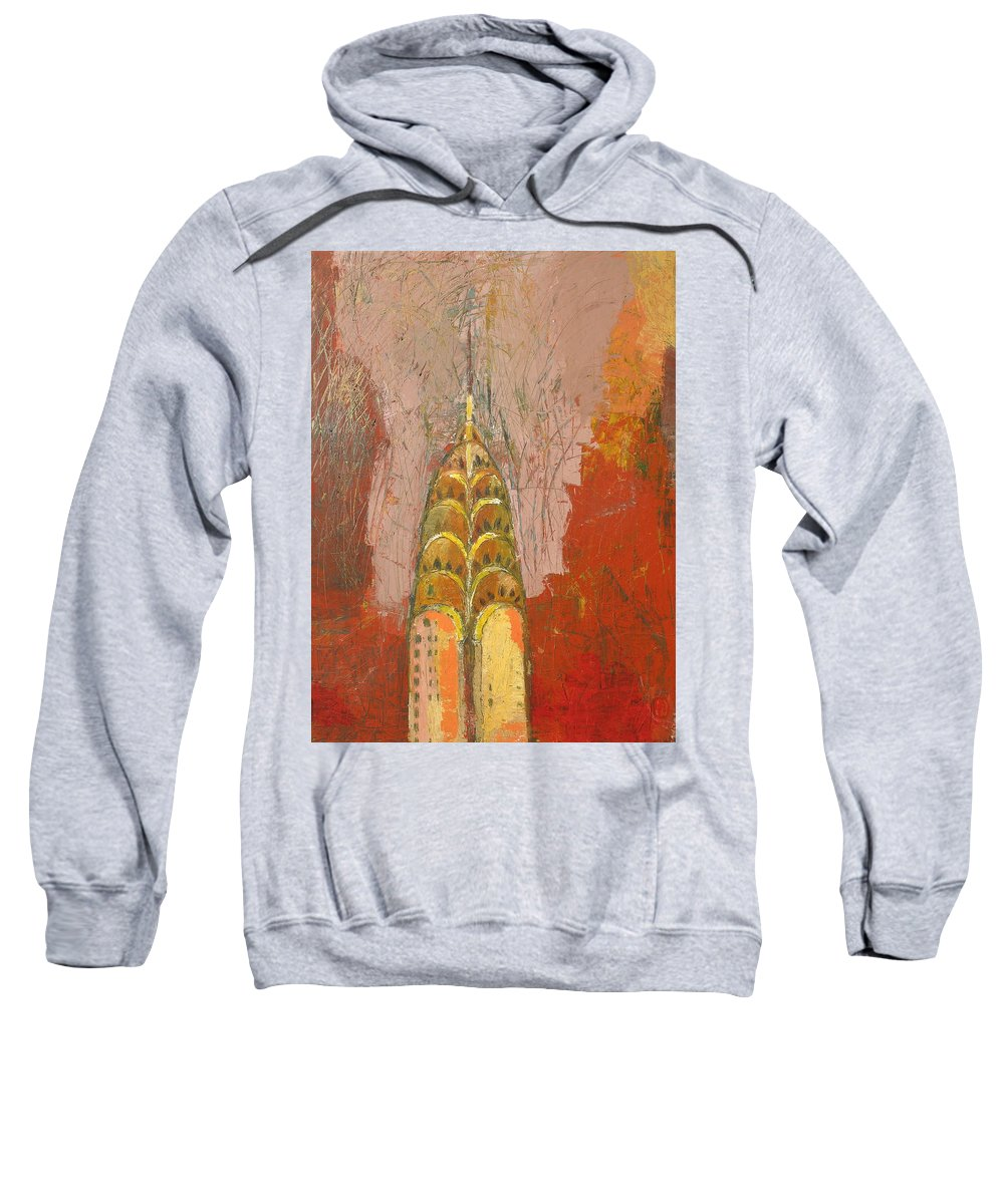 Abstract Cityscape Sweatshirt featuring the painting The Chrysler In Motion by Habib Ayat