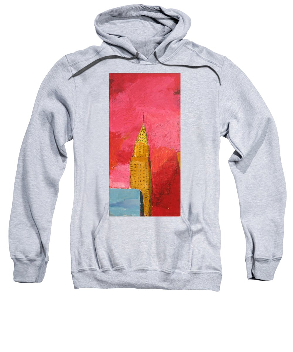 Nyc Sweatshirt featuring the painting The Chrysler With Red by Habib Ayat