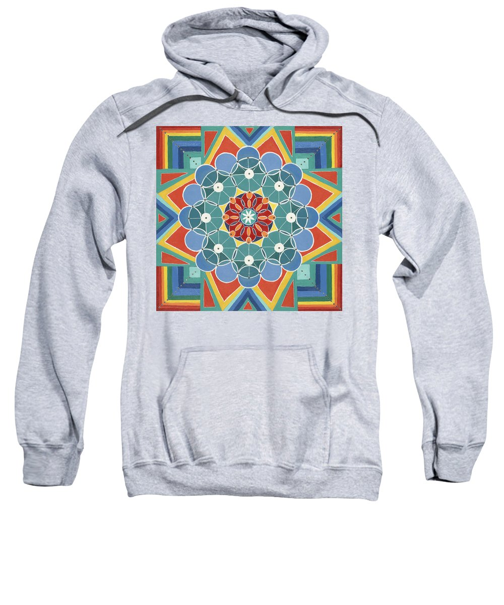 Mandala Sweatshirt featuring the painting The Circle Of Life Relationships by Kathleen Rausch