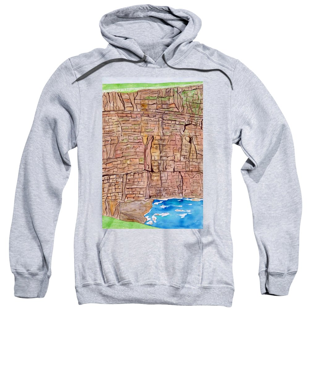 Ireland Art Sweatshirt featuring the painting The Cliffs Of Mohr In Ireland by Larry Wright