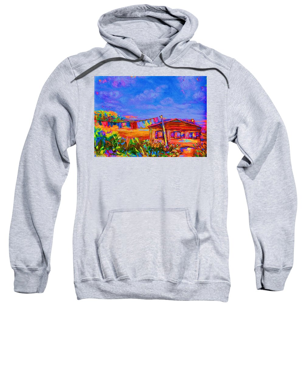 Clothesline Scenes Sweatshirt featuring the painting The Clothesline by Carole Spandau