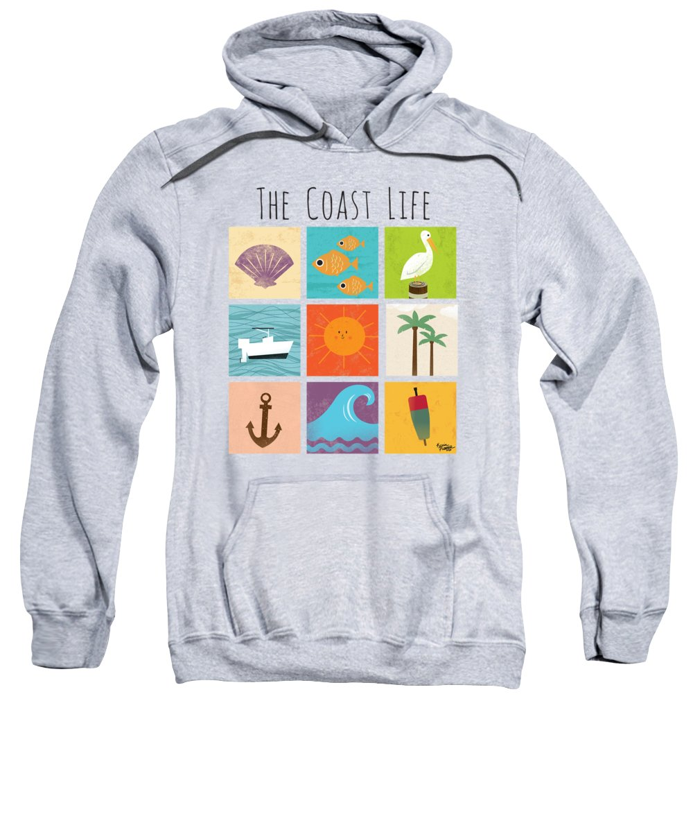 Ocean Sweatshirt featuring the digital art The Coast Life by Kevin Putman