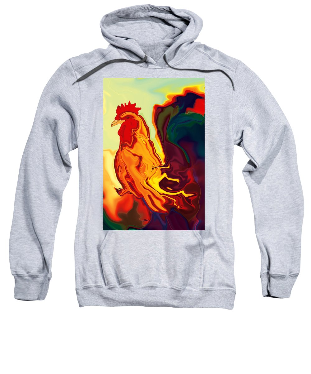 Animals Sweatshirt featuring the digital art The Cock by Rabi Khan