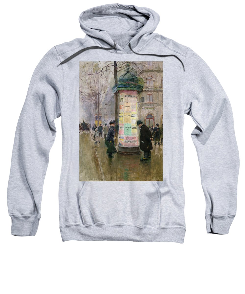 Poster Kiosk; Bill Board; Advertisement; Paris; Street Scene; Advertising; Hoarding; Urban; Winter; Grey Weather; Urban; Pavement Sweatshirt featuring the painting The Colonne Morris by Jean Beraud