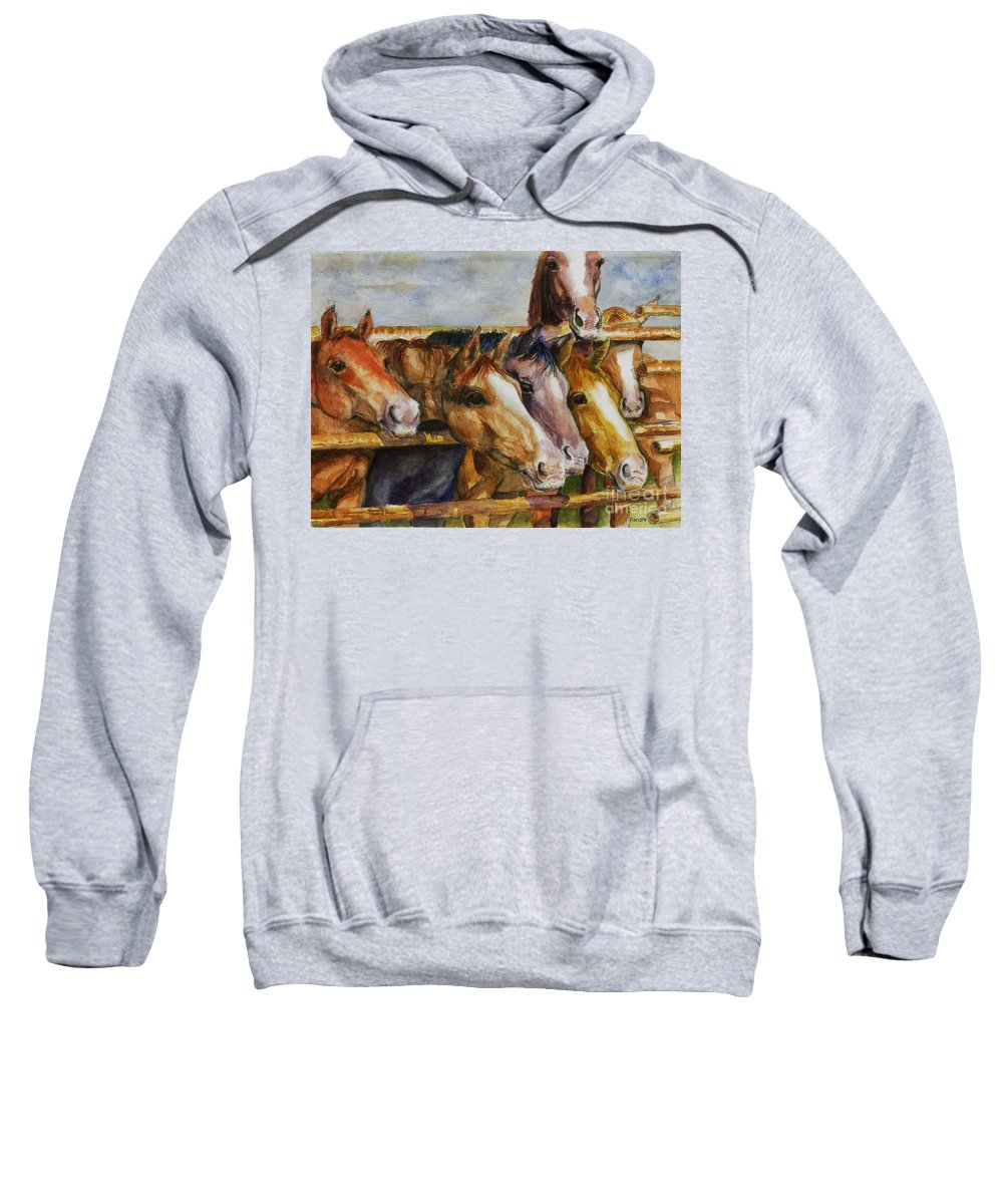 Horses Sweatshirt featuring the painting The Colorado Horse Rescue by Frances Marino