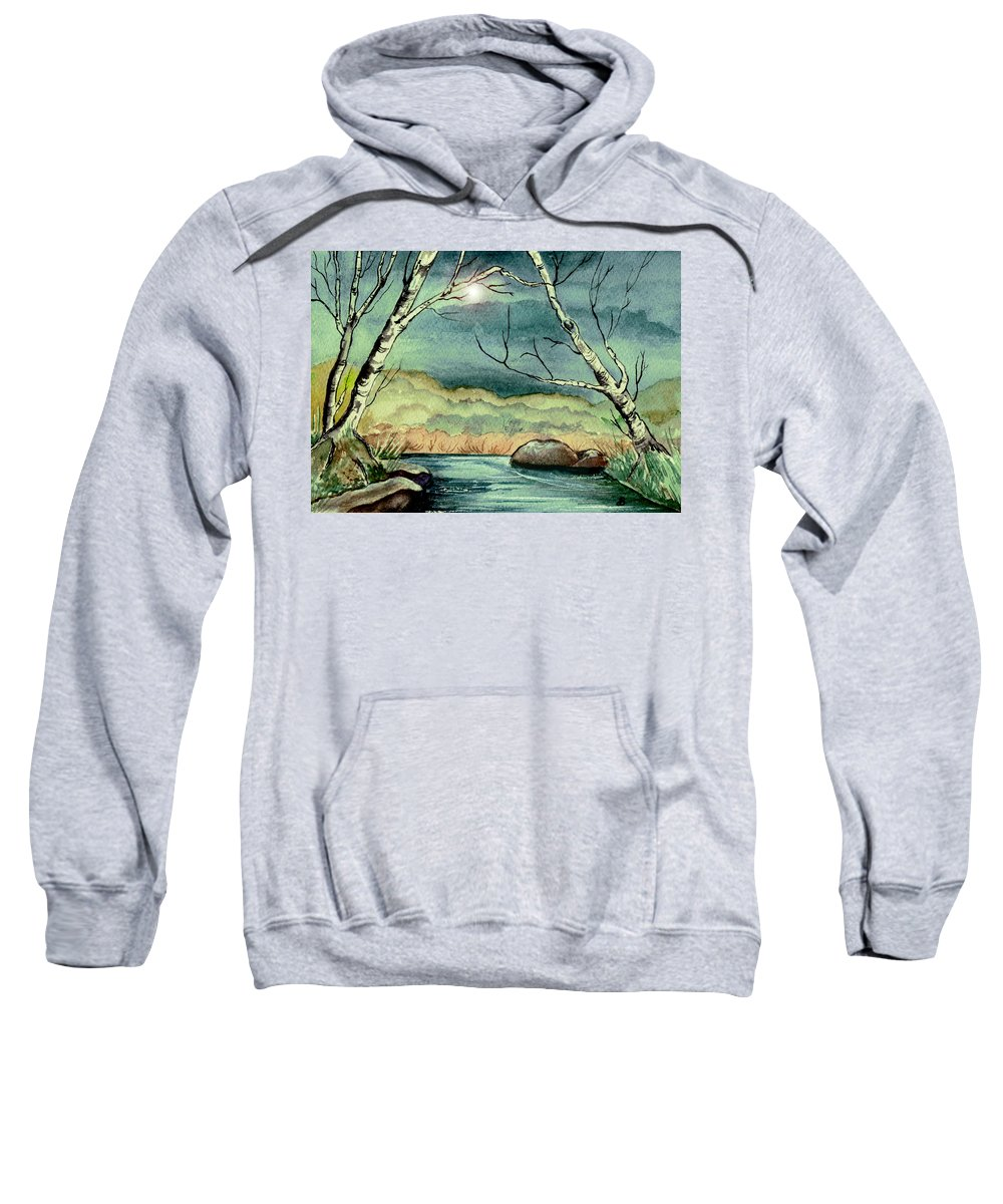 Watercolor Sweatshirt featuring the painting The Coming Storm by Brenda Owen