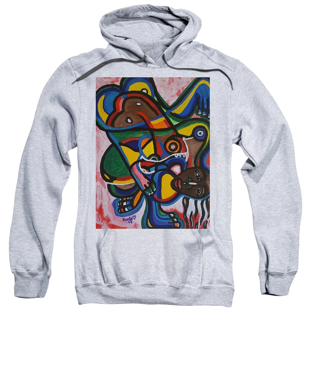 Abstract Art Sweatshirt featuring the painting The Contortionist by Adekunle Ogunade
