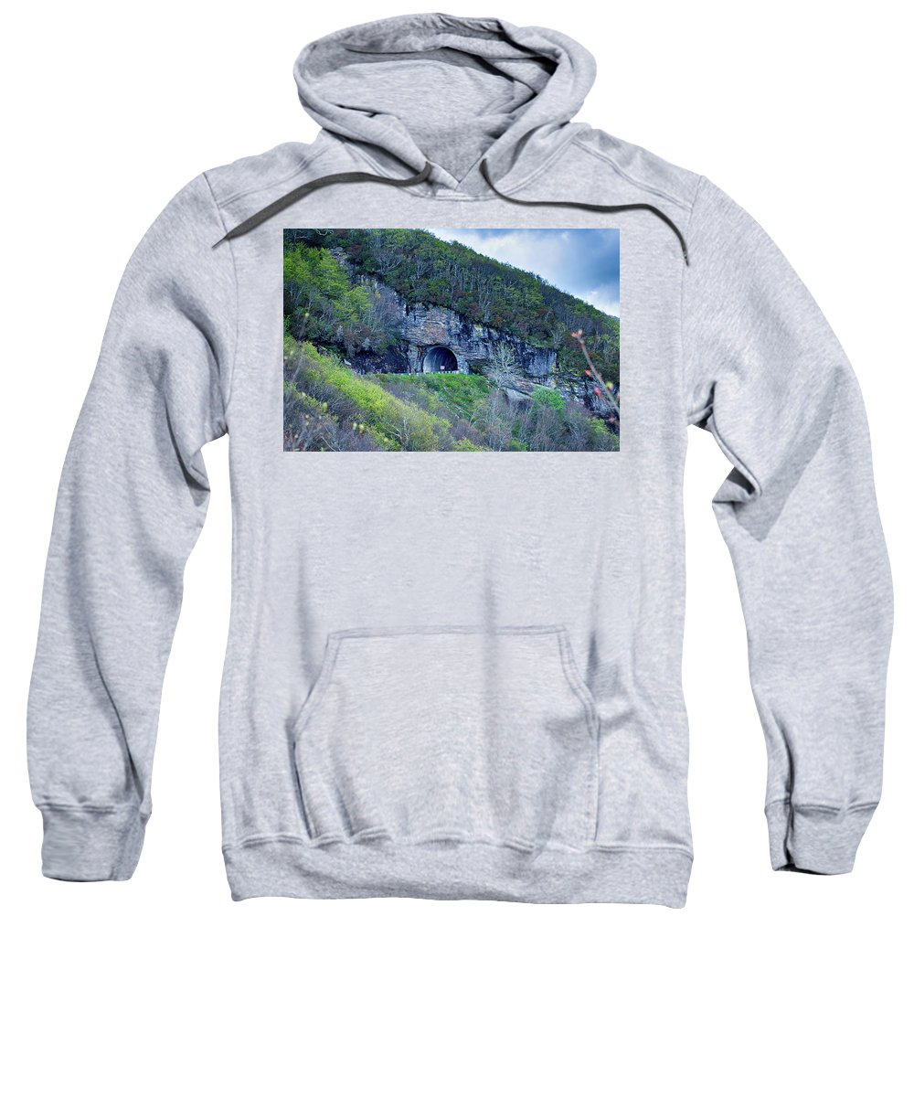Tunnel Sweatshirt featuring the photograph The Craggy Pinnacle Tunnel On The Blue Ridge Parkway In North Ca by Alex Grichenko