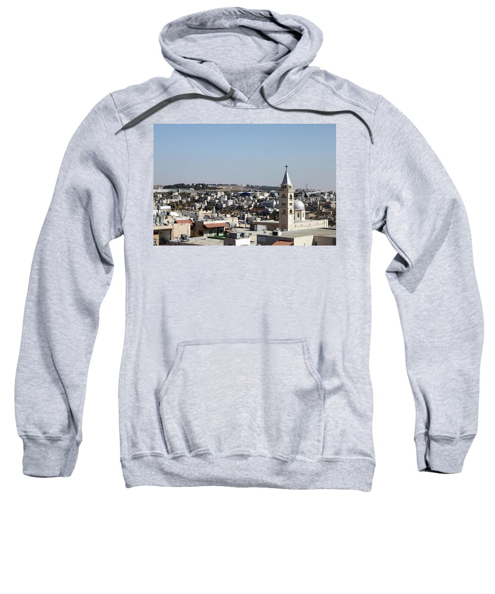 Beit Jala Sweatshirt featuring the photograph The Cross And The Wall by Munir Alawi