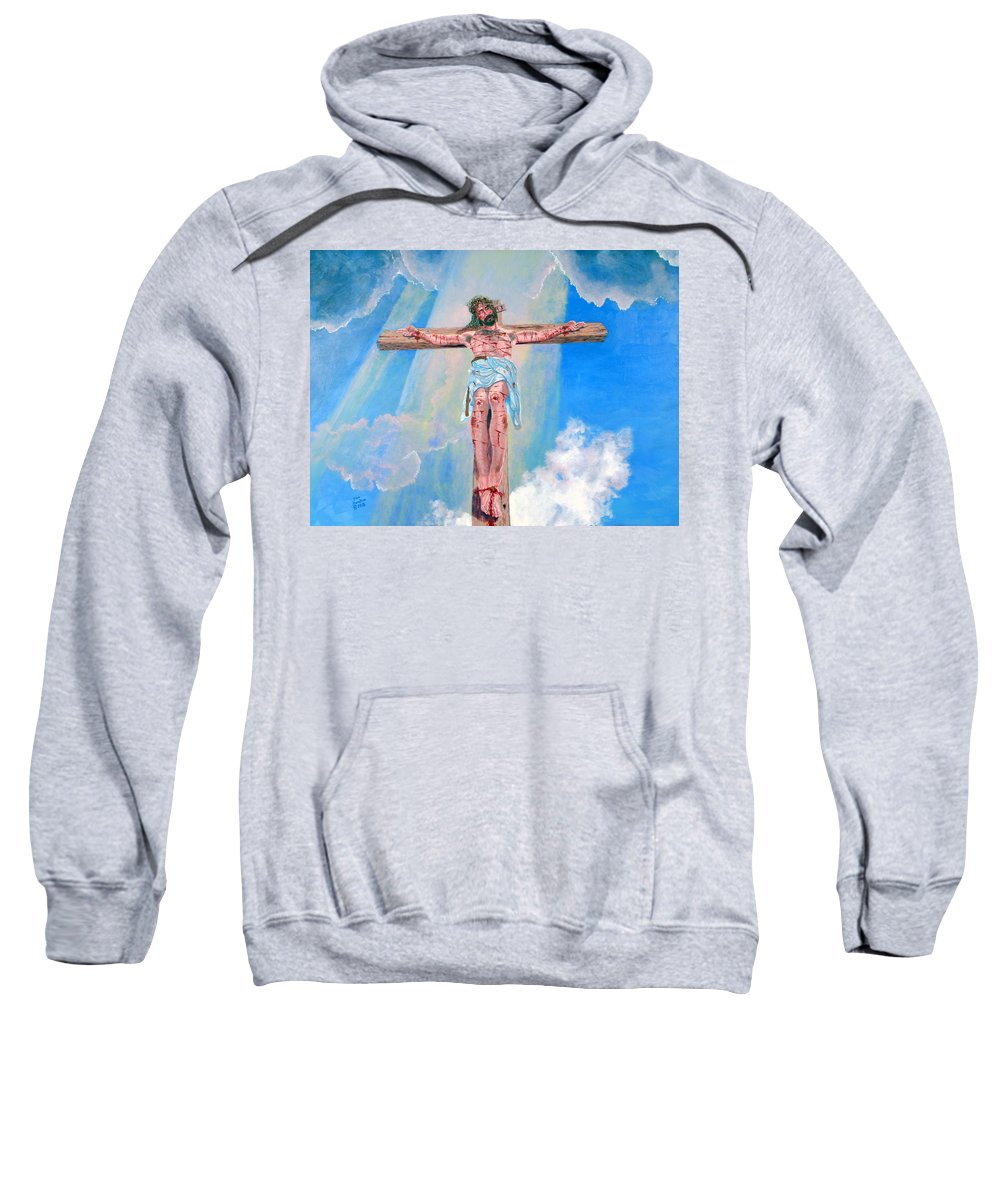 Christian Sweatshirt featuring the painting The Crucifixion Daytime by Stan Hamilton
