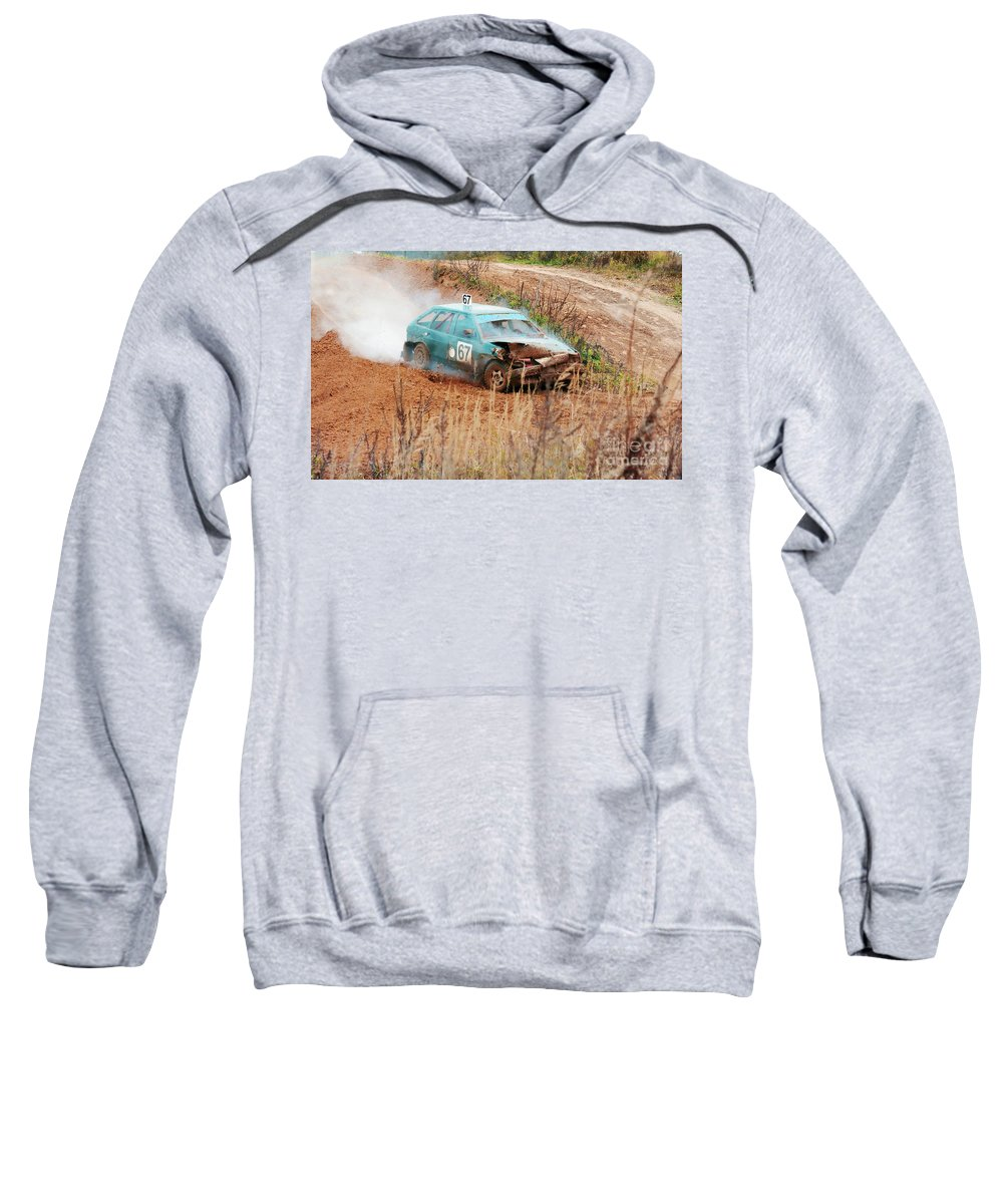 Amortisation Sweatshirt featuring the photograph The Damaged Car In A Smoke by Vadzim Kandratsenkau