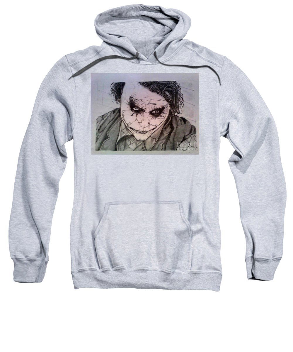 Graphite Pencil Sweatshirt featuring the drawing The Dark Knight by Johnee Fullerton