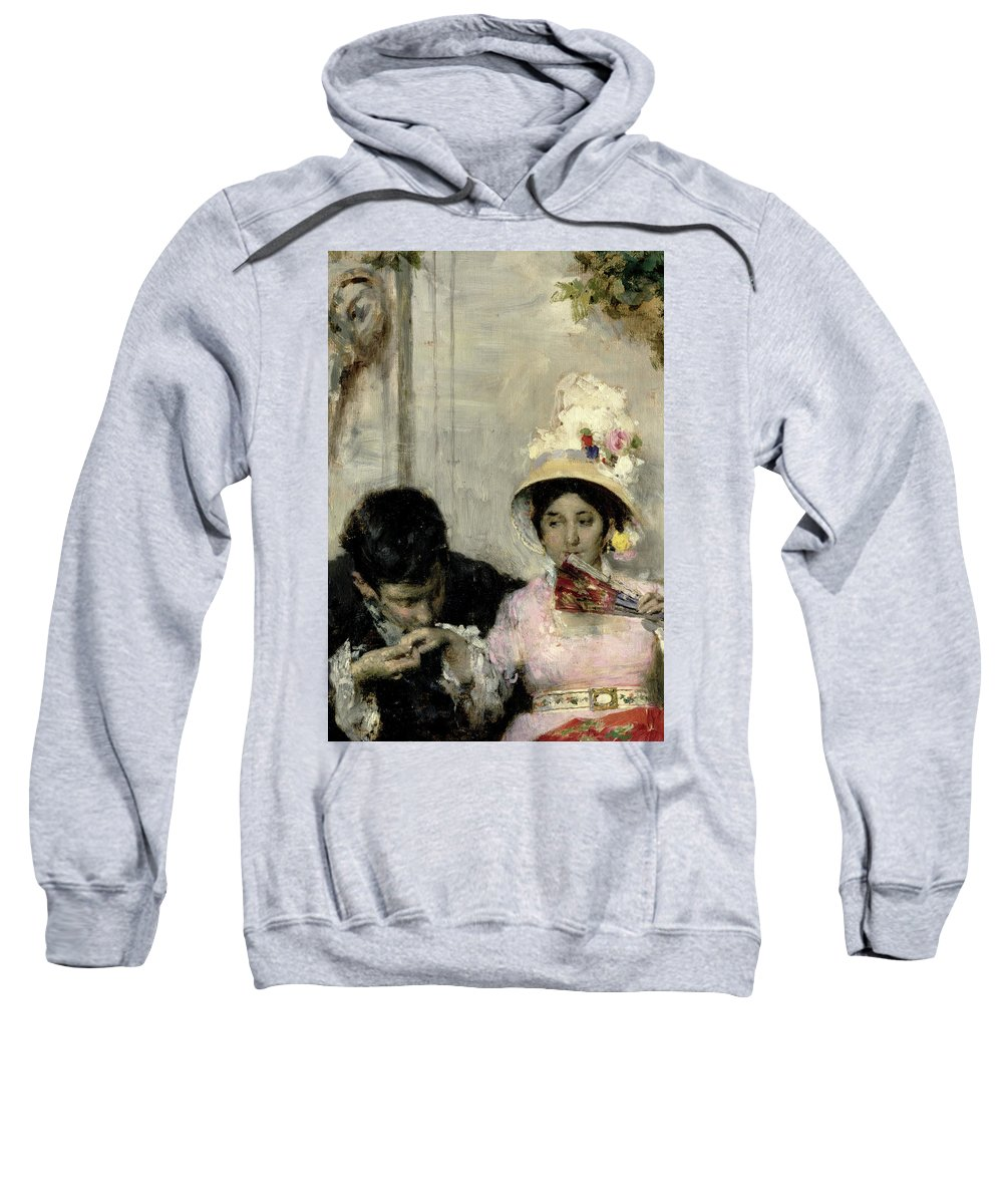 The Declaration (oil On Canvas) By Giacomo Favretto (1849-87) Sweatshirt featuring the painting The Declaration by Giacomo Favretto