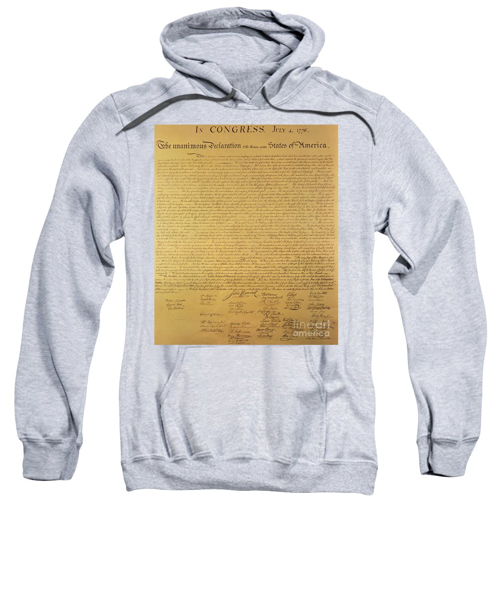 Declaration Of Independence Of The 13 United States Of America Of 1776 Sweatshirt featuring the painting The Declaration Of Independence by Founding Fathers