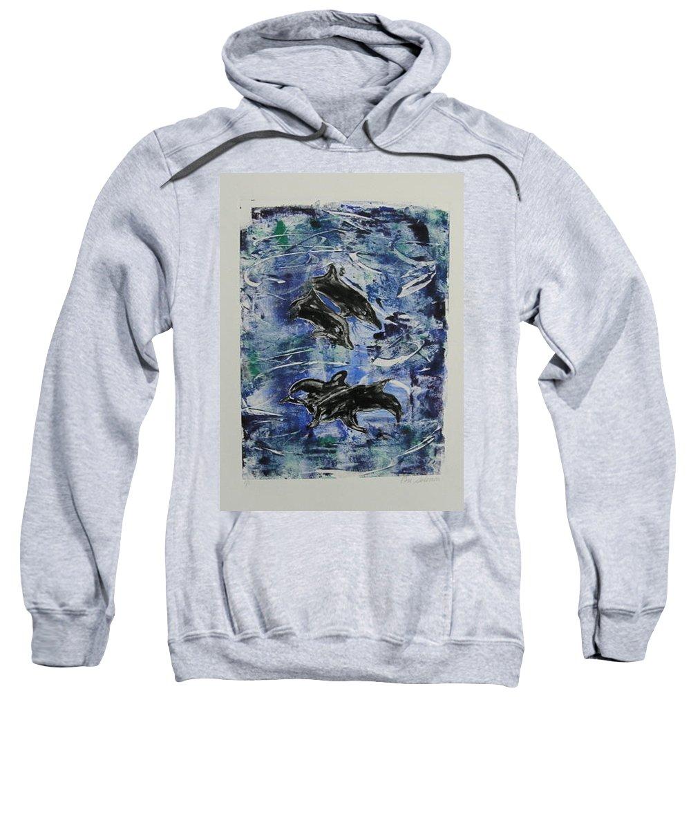 Monotype Sweatshirt featuring the mixed media The Deep Sea by Cori Solomon