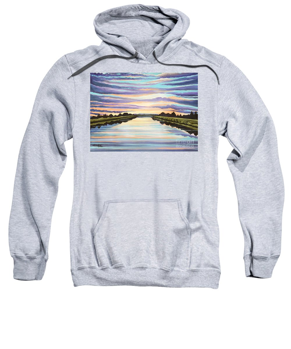 Sunset Sweatshirt featuring the painting The Delta Experience by Elizabeth Robinette Tyndall