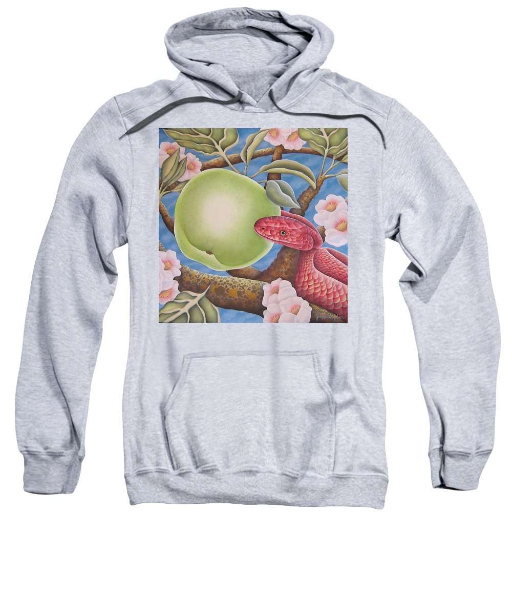 Religious Sweatshirt featuring the painting The Devil And Granny Smith by Jeniffer Stapher-Thomas