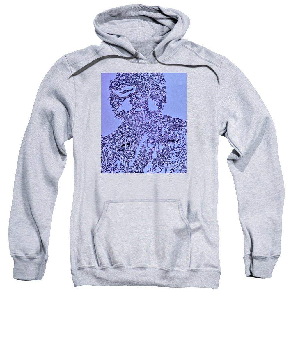 Abstract Linear Purple Lines Man Body Sweatshirt featuring the digital art The Dreaming Man by Reb Frost