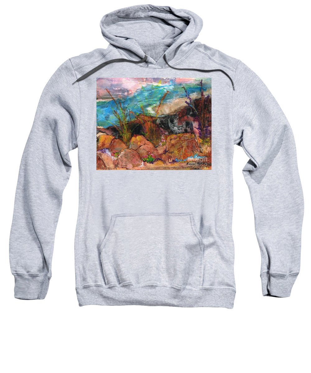Desert Flowers Sweatshirt featuring the painting The Edge Of The Cliff by Frances Marino