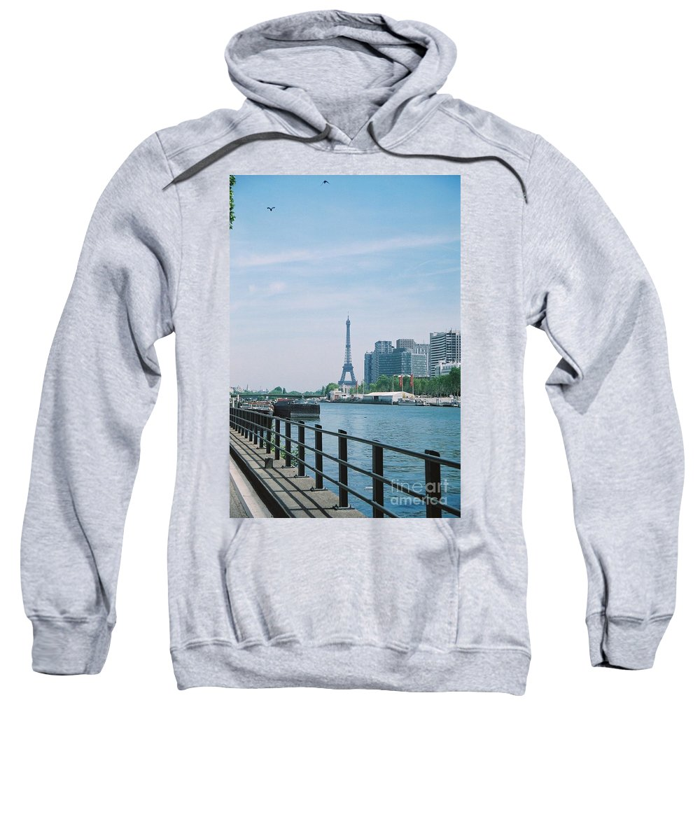 The Eiffel Tower Sweatshirt featuring the photograph The Eiffel Tower And The Seine River by Nadine Rippelmeyer