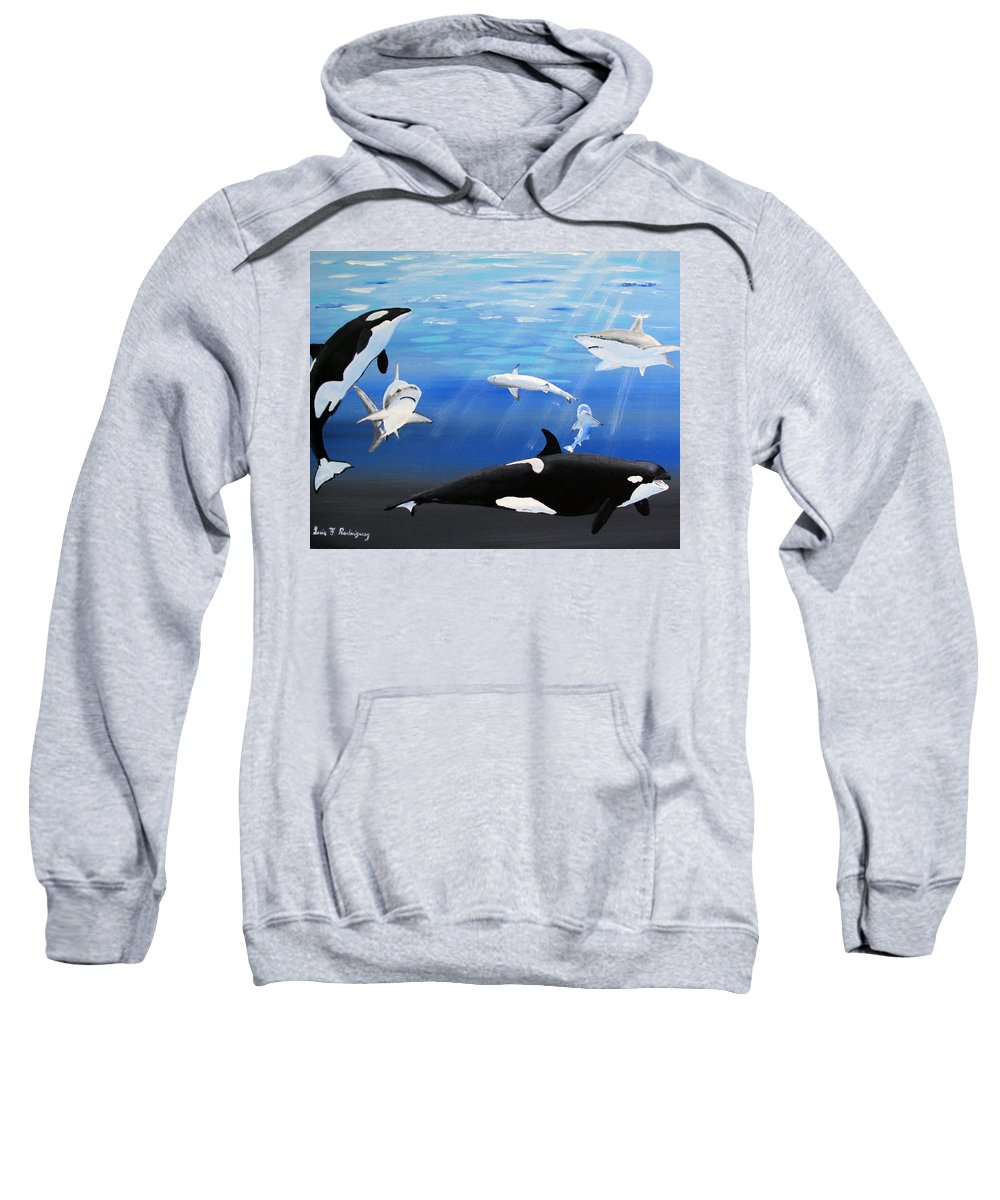 Killer Whales Sweatshirt featuring the painting The Encounter by Luis F Rodriguez