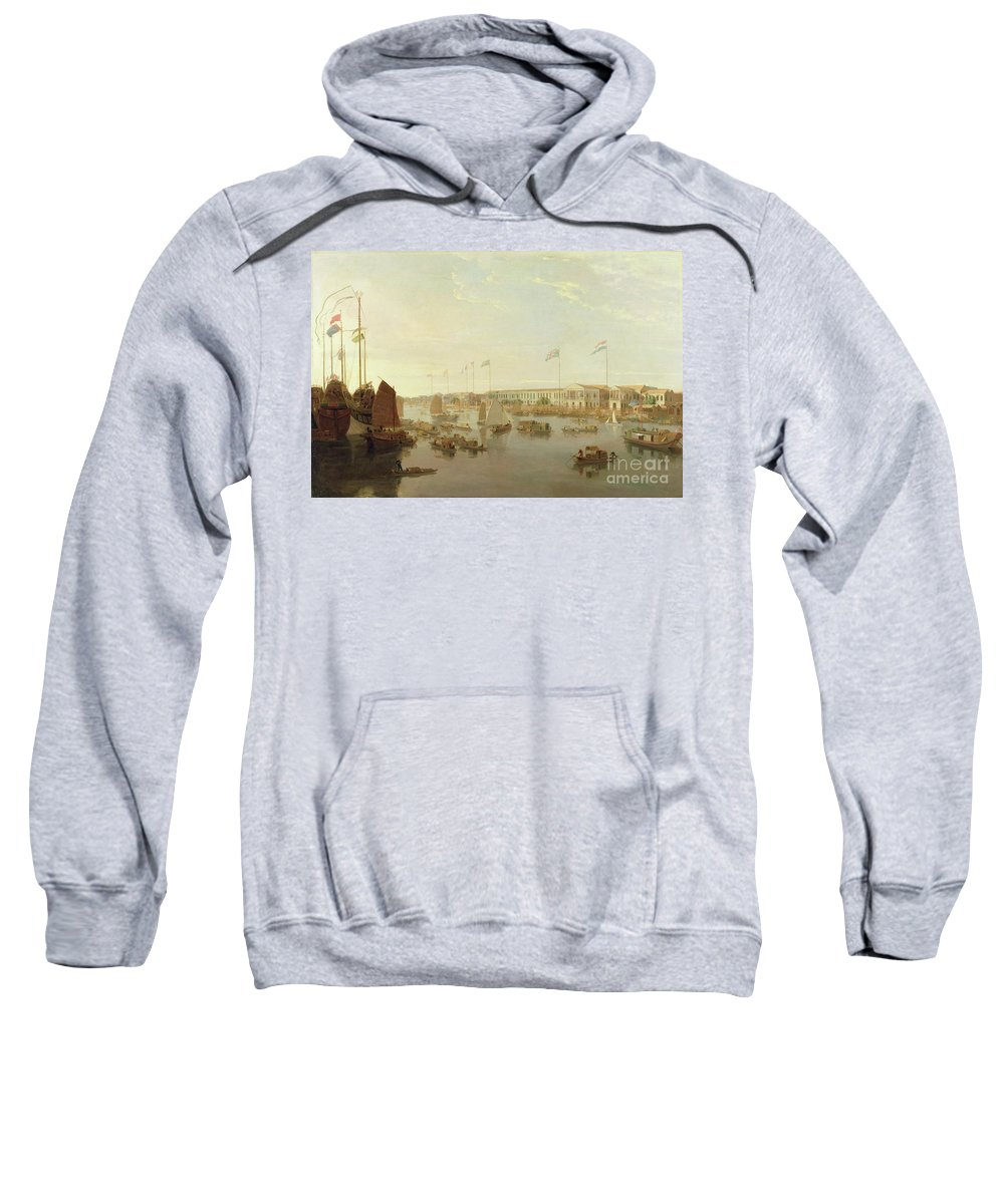 The Sweatshirt featuring the painting The European Factories - Canton by William Daniell