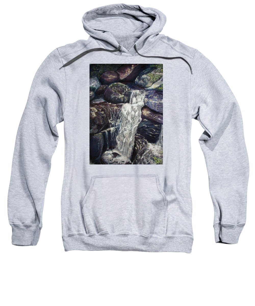 Falls Sweatshirt featuring the painting The Falls by Brenda Ferro