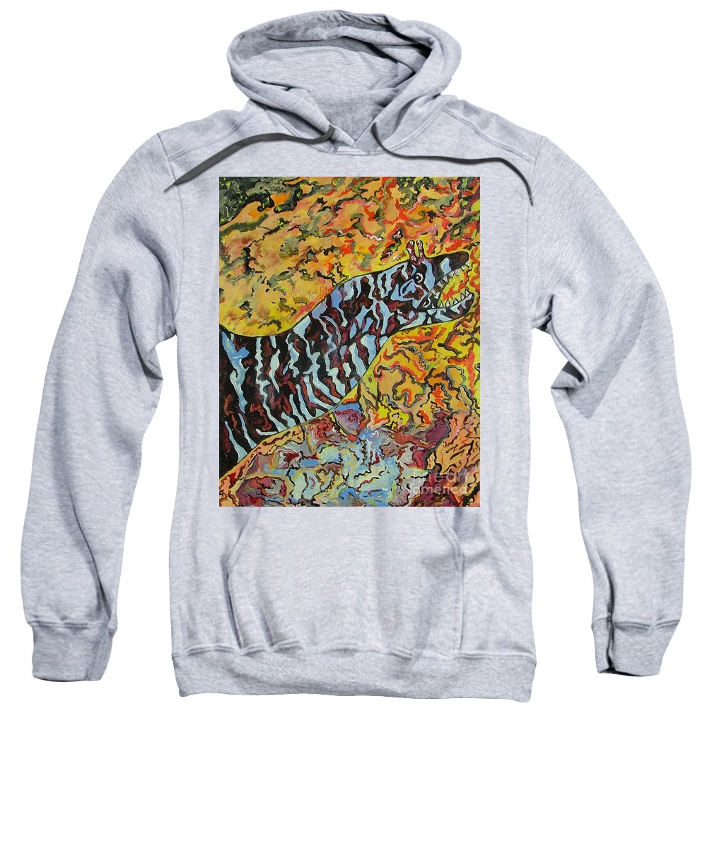 London Aquarium Sweatshirt featuring the painting The Fierce Eel by Heather Lennox