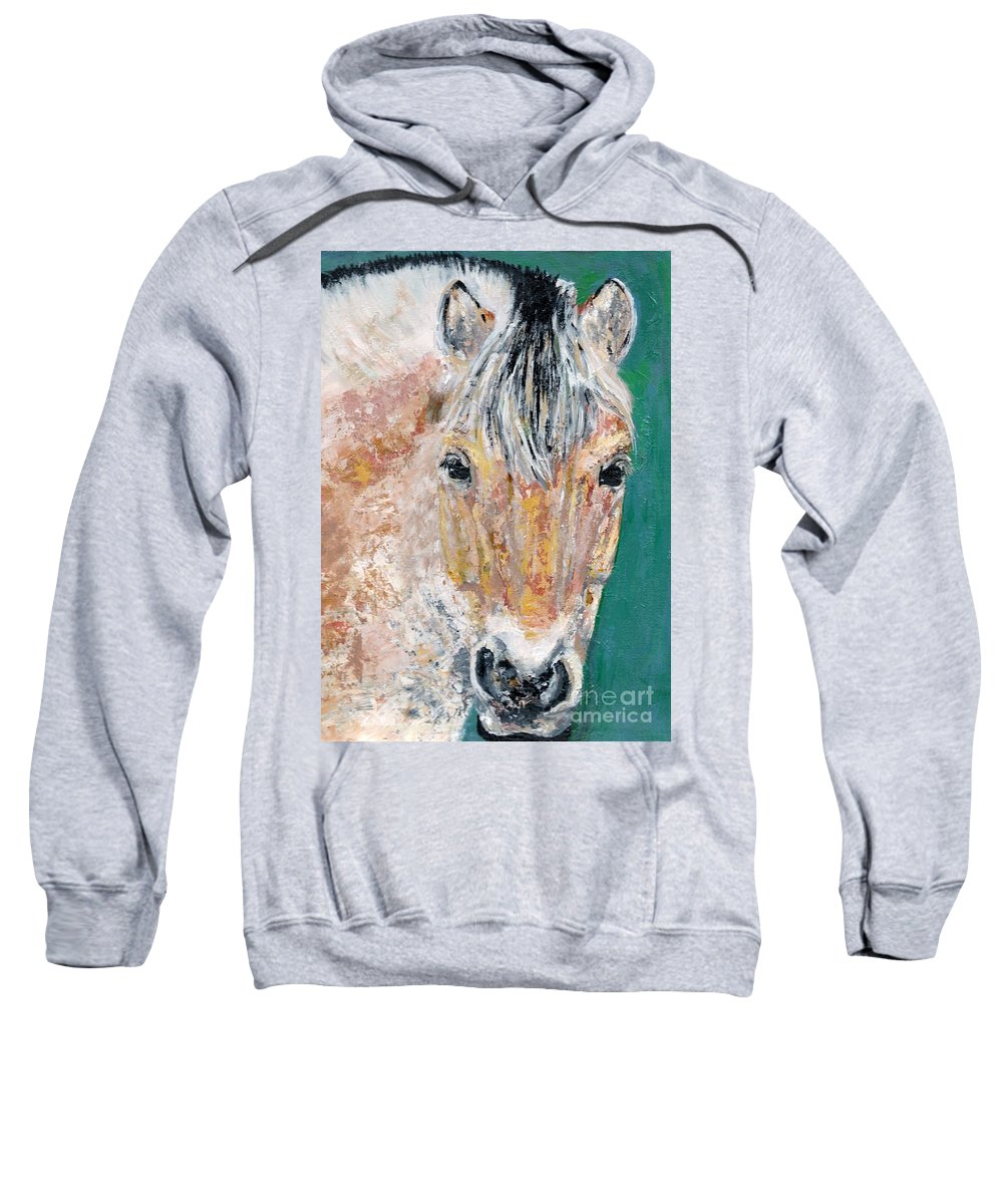 Fijord Horse Sweatshirt featuring the painting The Fijord by Frances Marino