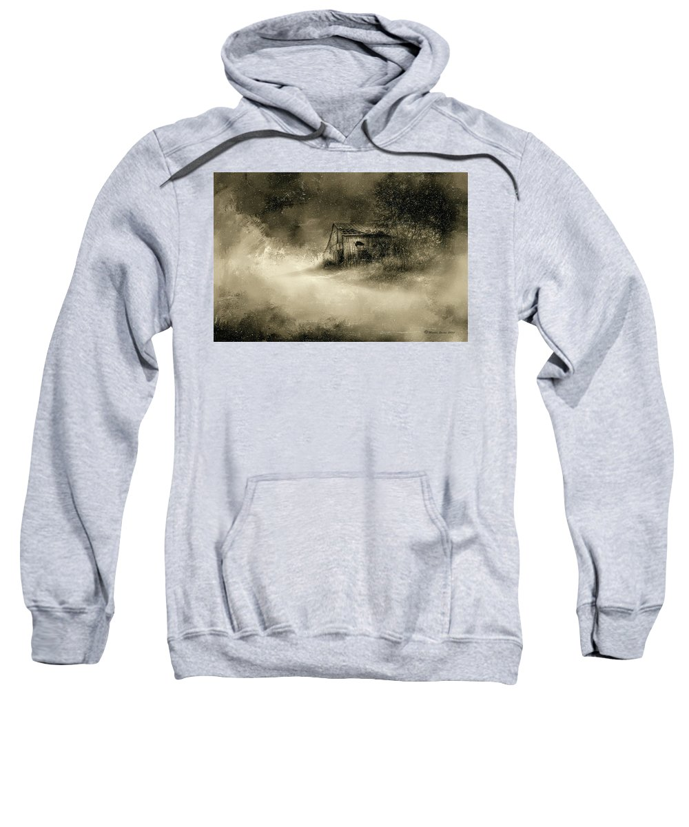 Barns Sweatshirt featuring the digital art The First Snow by Marvin Spates