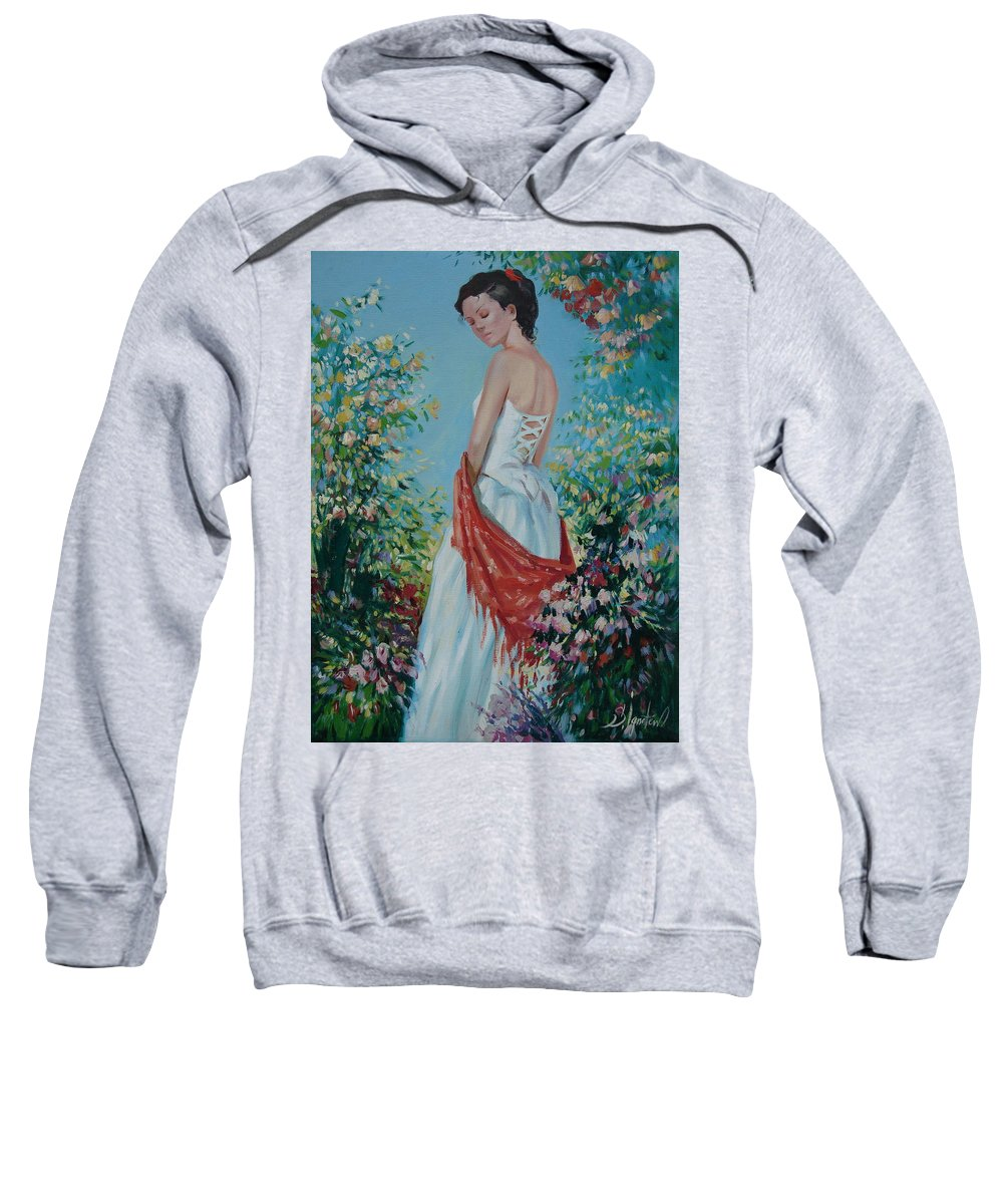 Oil Sweatshirt featuring the painting The Florist In A Red Kerchief by Sergey Ignatenko