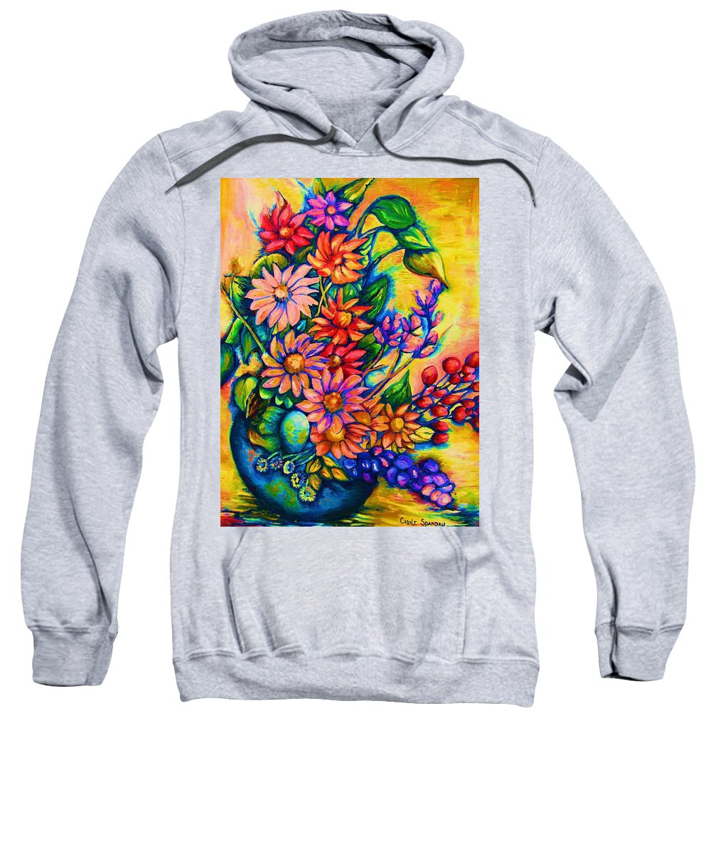 Beautiful Flowers.floral Bouquet Sweatshirt featuring the painting The Flower Dance by Carole Spandau