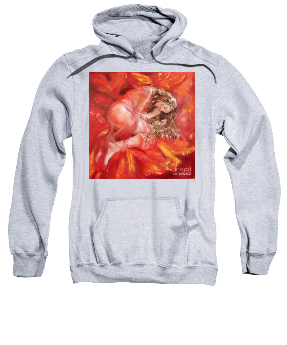 Oil Sweatshirt featuring the painting The Flower Paradise by Sergey Ignatenko