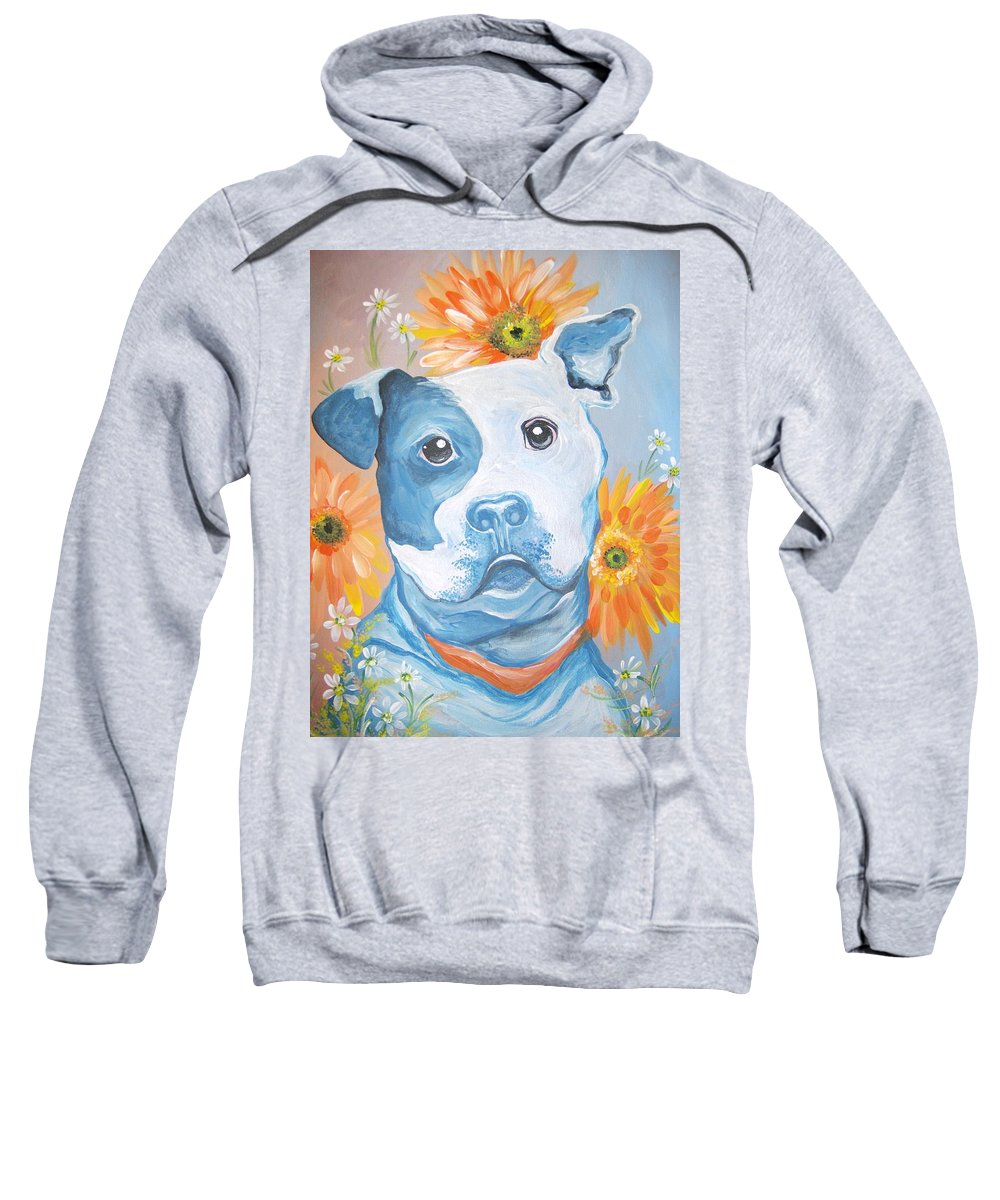 Dog Sweatshirt featuring the painting The Flower Pitt by Leslie Manley