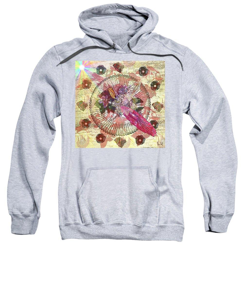 Flowers Sweatshirt featuring the digital art The Flowerclock by Helmut Rottler