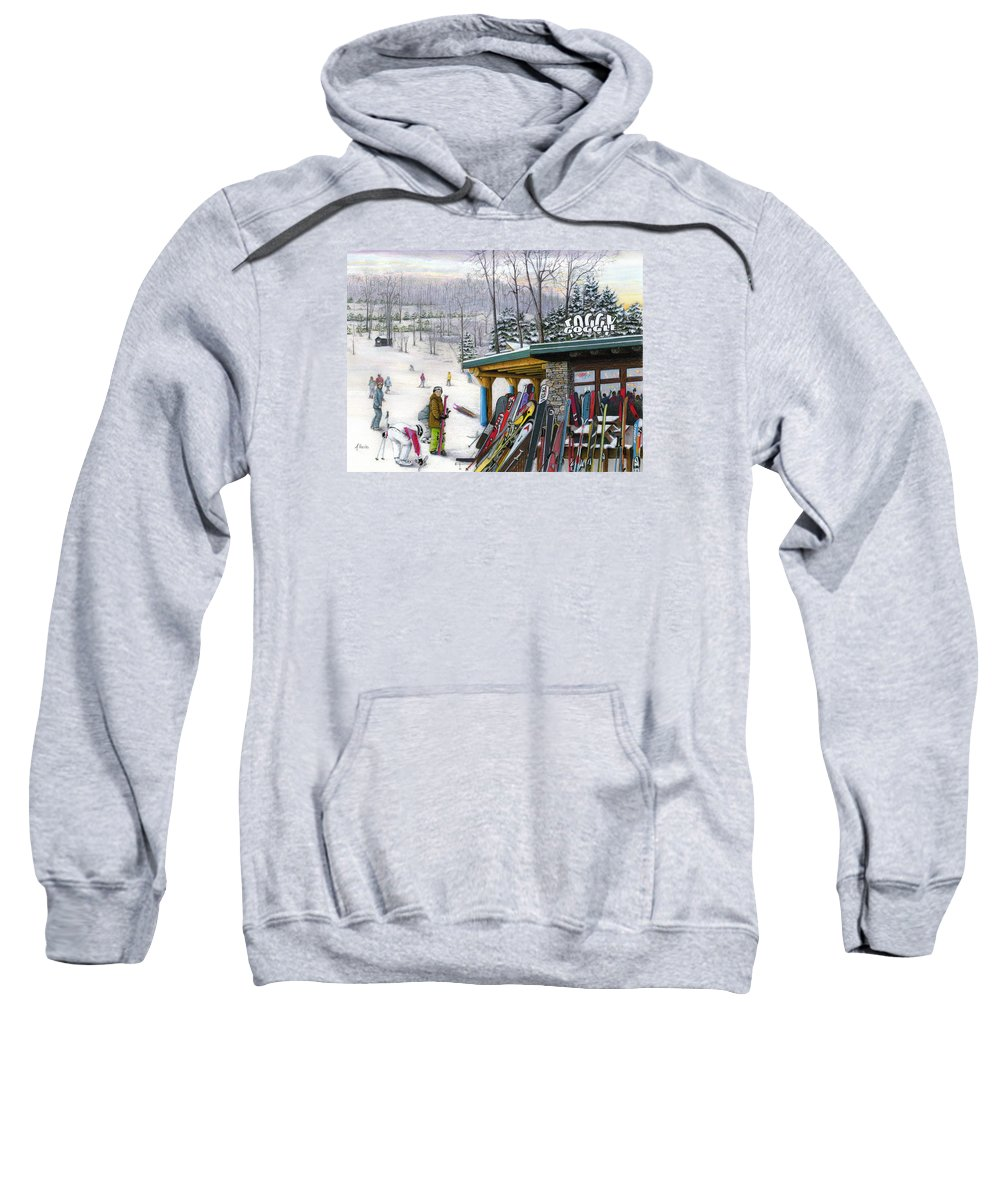 Seven Springs Sweatshirt featuring the painting The Foggy Goggle At Seven Springs by Albert Puskaric