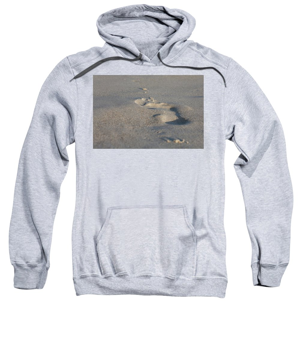 Outdoor Sweatshirt featuring the photograph The Footprint Of Invisible Man On The Sand by Yoel Koskas