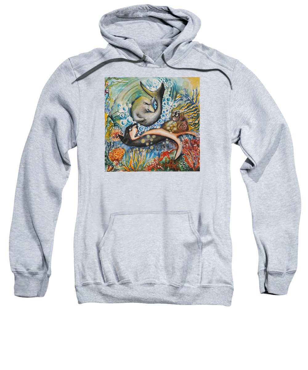 Illustration Sweatshirt featuring the mixed media Friends 2 by Rita Fetisov