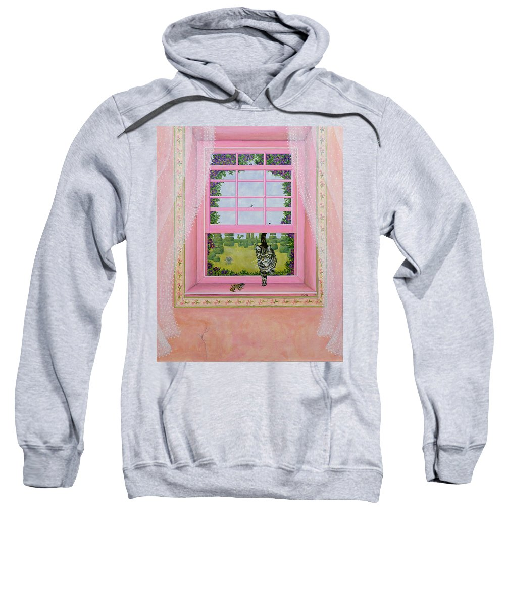 Pink Sweatshirt featuring the painting The Frog by Ditz