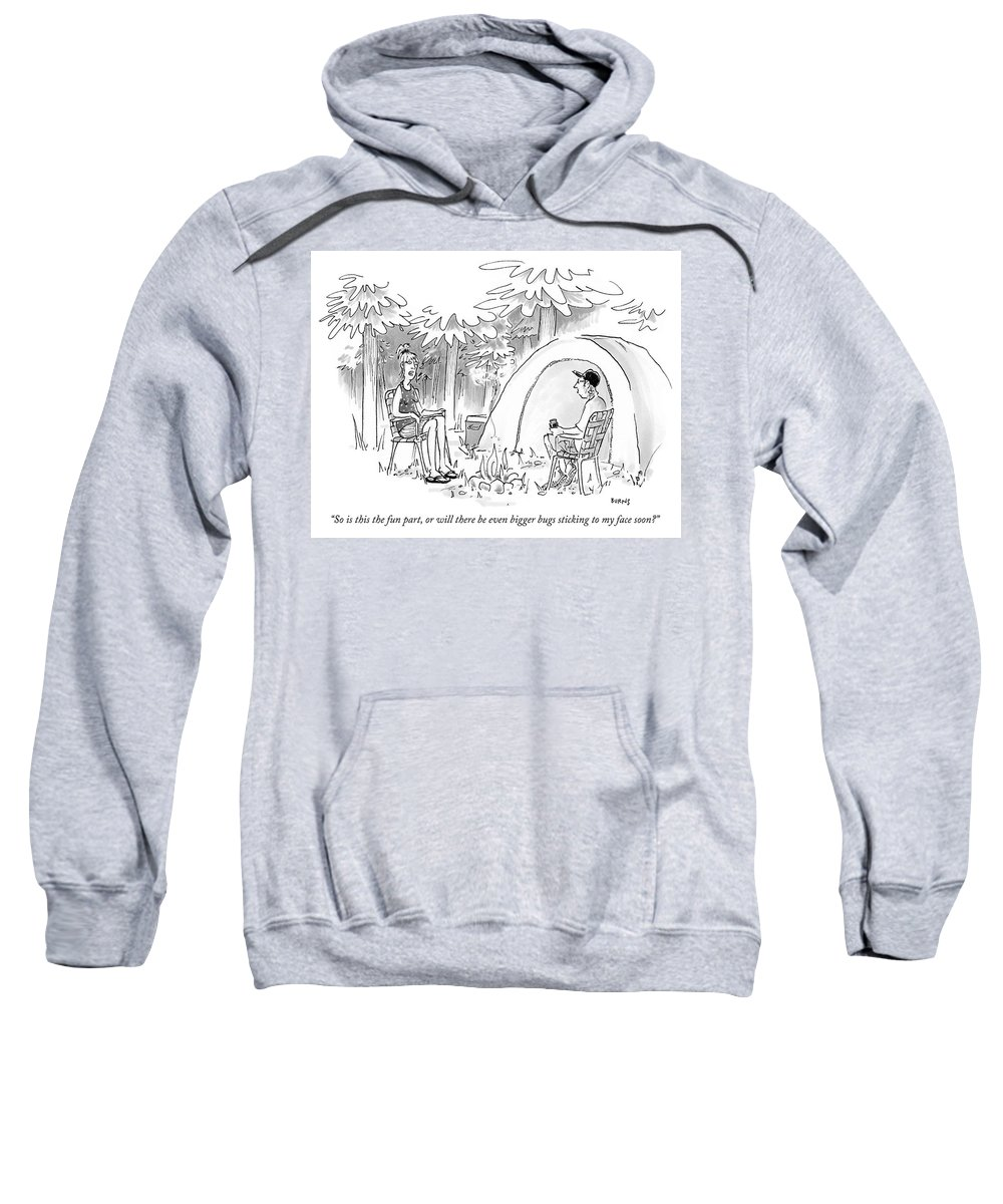 So Is This The Fun Part Sweatshirt featuring the drawing The Fun Part by Teresa Burns Parkhurst