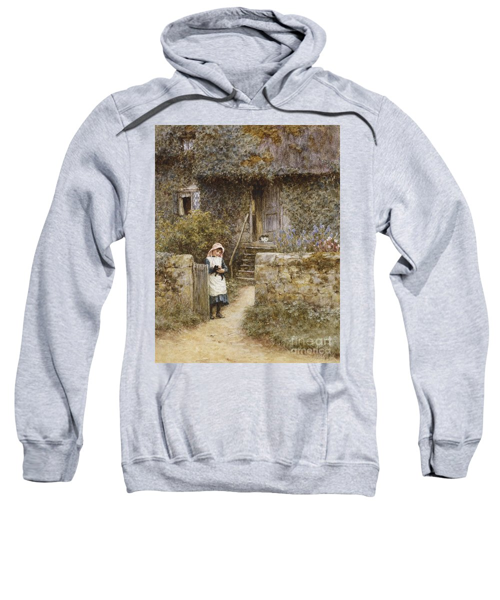 Cottage; English; Landscape; Rural; Girl; Child; C19th; C20th; Path; Bonnet; Kitten; Cat; Ivy; Creeper; Victorian Sweatshirt featuring the painting The Garden Gate by Helen Allingham