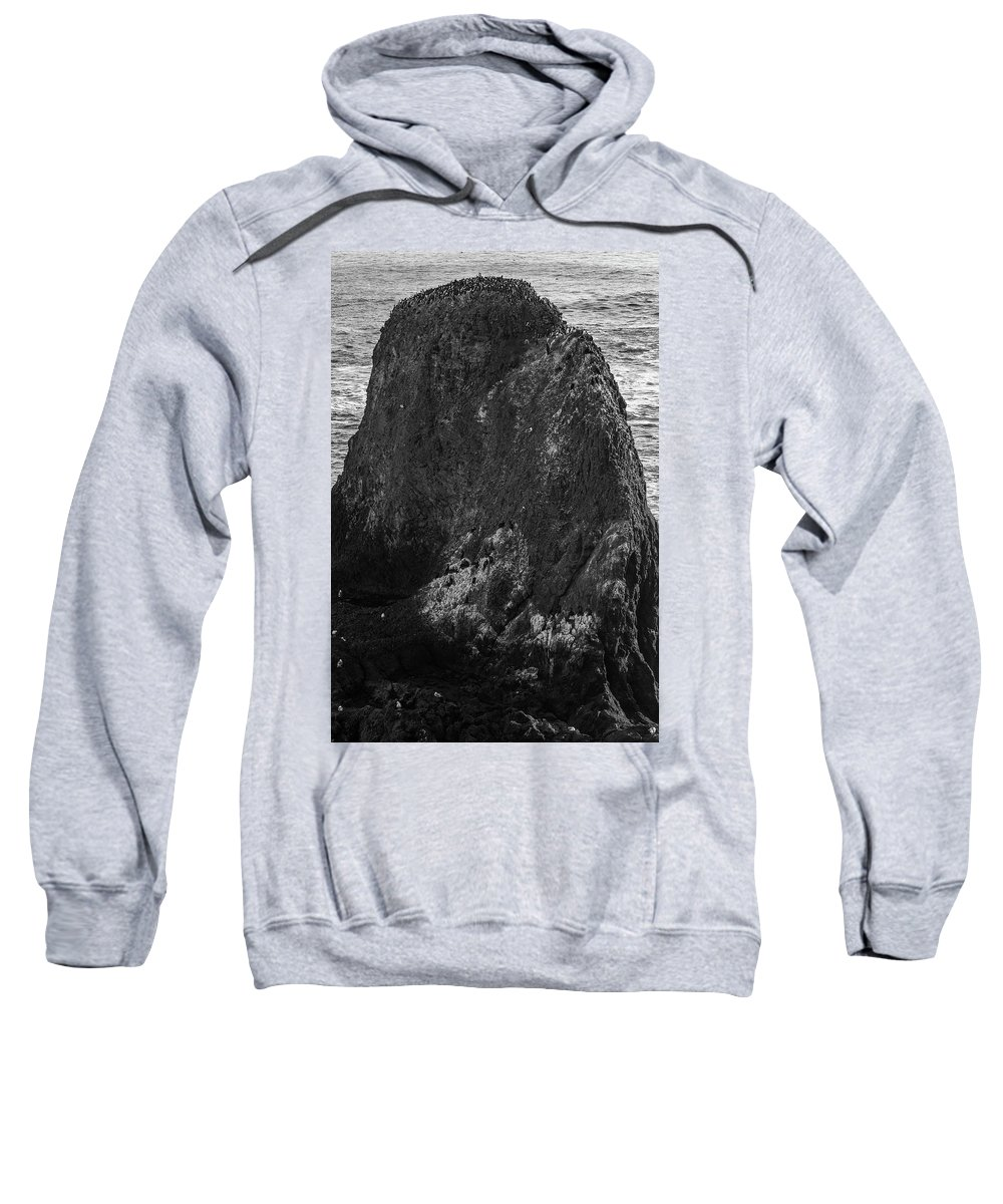 Yaquina Head Sweatshirt featuring the photograph The Gathering- Bw by Calazone's Flics