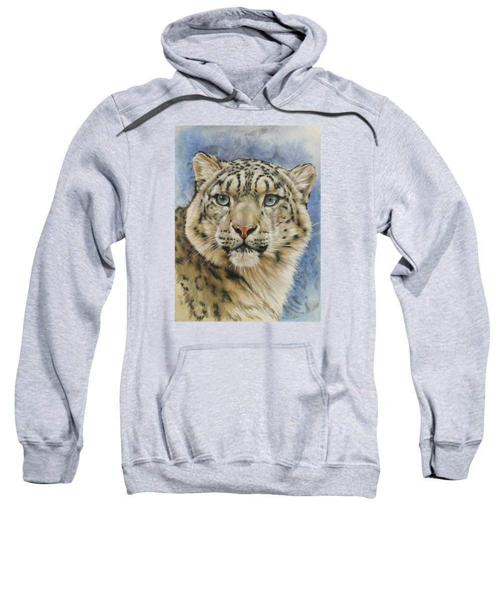 Snow Loepard Sweatshirt featuring the mixed media The Gaze by Barbara Keith
