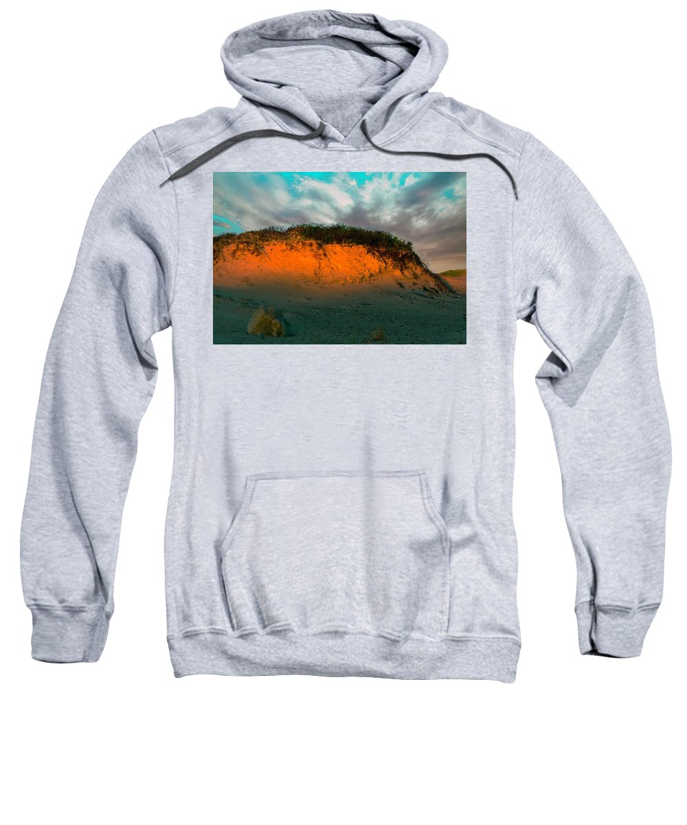 Dunes Sweatshirt featuring the photograph The Golden Hour Illuminating The Dunes by Myer Bornstein